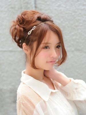 結婚式 髪型 ミディアム おすすめ カチューシャ