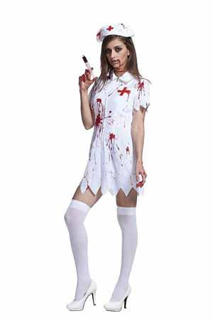 ハロウィン 仮装 衣装 メイク ナース 黒ナース 血