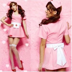 ハロウィン 仮装 衣装 メイク ナース 黒ナース ピンク